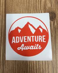 Adventure Awaits Vinyl Decal Sticker Car Decal Yeti Sticker Water Bottle Sticker Laptop Sticker Yeti Stickers Custom Vinyl Stickers Vinyl Decal Stickers
