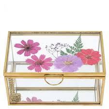 pressed flower glass jewellery box