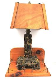 lodge table lamp stone fireplace with