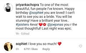 priyanka chopra posted a message for sophie turner s rd birthday