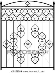 Wrought Iron Gate Door Fence Window Grill Railing Design Clip Art K59261289 Fotosearch