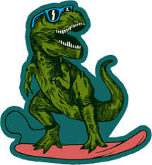 Surfing T Rex Dinosaur Sticker