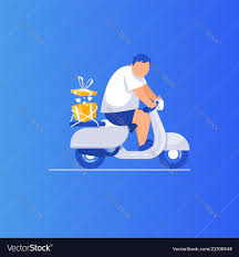 man is riding a scooter royalty free vector