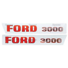 Ford 3000 65 68 Tractor Hood Vinyl Decal Transfers Set