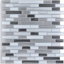 Art3d 10 Pieces Peel And Stick Vinyl Sticker Kitchen Backsplash Tiles 12 X 12 Gray White Design Walmart Com Walmart Com