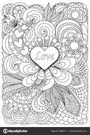 Heart Shaped Coloring Pages Heart Shape The Word Love On Floral