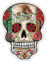 Amazon Com Osmdecals Grunge Flag Detailed Mexican Sugar Skull Sticker Series 10 Day Of The Dead Retro Vintage Mexico Calavera Waterproof Car Decal Bumper Sticker Automotive