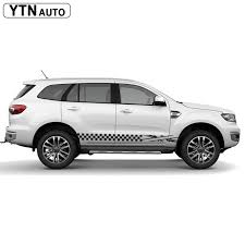 Check Price Car Decal 2 Pcs Grid England Flag Racing Side Door Graphic Vinyl Custom Sticker For Ford Everest Endeavour