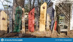 Colorful Banner Of Wooden Fence With Antique Chair Stock Photo Image Of Fence Green 175110842