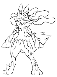 Pokemon Coloring Pages Mega Lucario Tekenen