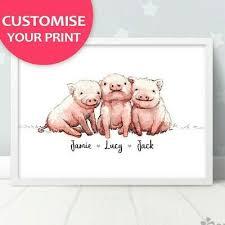 triplet pig baby name nursery print
