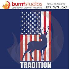 Digital File America American Flag Deer Hunting Season Dear Usa Merica Tradition Shirt Design Decal Design Svg Png Dxf Eps File Burnt Studios