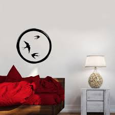 Enso Circle Flock Of Birds Wall Decal Decor Bedroom Swallows Buddhism Vinyl Wall Sticker Dormitry Living Room Decoration W827 Wall Stickers Aliexpress