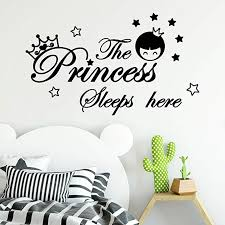 Amazon Com Yjydada Wall Stickers The Princess Sleeps Here Wall Decals Children S Room Home Decoration Art 54cm X 32cm Black Home Kitchen