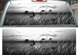 Duck Grass Grey Scale Hunting Rear Window View Thru Graphic Decal Wrap Ebay