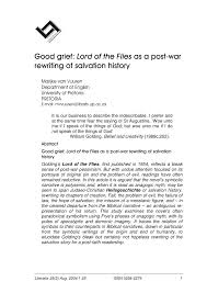 pdf good grief lord of the flies as a post war rewriting of