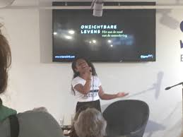 """Peter Reiss on Twitter: """"Josine, winner of Voice Kids performing at the  presentation of the book 'onzichtbare levens' (invisible lives) by Colet  van der Ven and Adriaan Backer. Book attempts to fight"""