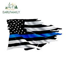 Earlfamily 13cm X 7 4cm Thin Blue Line Tattered Flag Sticker Police Usa Vinyl Decal Car Truck Car Styling Accessories Car Stickers Aliexpress