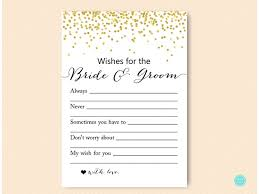 gold dots bridal shower wishes for the