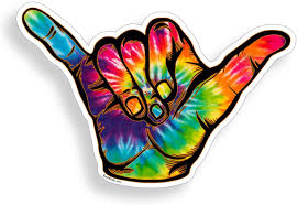 Amazon Com Tie Dye Hang Loose Shaka Sticker Sign Symbol Beach Surf Cup Cooler Laptop Vinyl Decal Graphic Everything Else