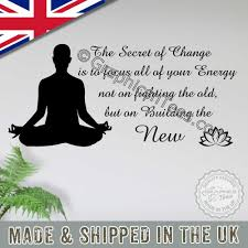 Inspirational Quote Secret Of Change Motivational Yoga Meditation Wall Sticker Decor Decal With Lotus Flower