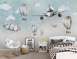 Kids Wallpaper Aircraft Personality Poster Hot Air Balloon Children S Room Background Wall In 2020 Wallpaper Childrens Room Kids Room Wallpaper Kids Room Wall Decor