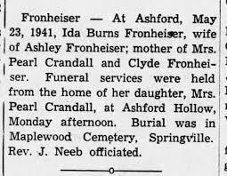 Ida Burns Fronheiser obit 1941 - Newspapers.com
