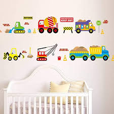 Amazon Com Mondfh Wall Sticker Cartoon Cars Kids Room Wall Sticker For Children S Room Baby Bedroom Wall Decals Window Poster 3d Car Stickers Wallpaper Home Kitchen