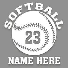 Amazon Com Personalized Softball 1 Color Vinyl Decal Custom Name And Number 5 5 Qty 2 Sticker For Car Window Truck Automotive