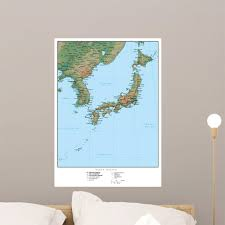 Geography Map Japan Wall Decal Wallmonkeys Com