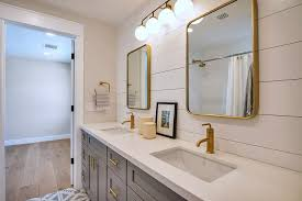 gray shaker dual bath vanity with brass