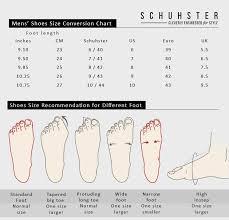 shoe size chart schuhster
