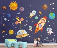 Space Wall Decal Planets Wall Decal Sticker Spaceship Wall Etsy Space Wall Decals Wall Decals Wall Decal Sticker