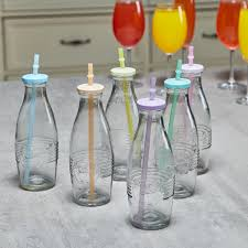 6 piece milk bottles with tin lids set