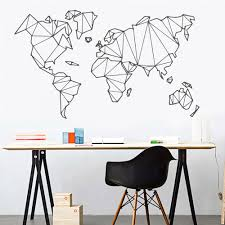 Large Size Geometric World Map Wall Sticker Vinyl Mural Removable Stickers Decor Ebay