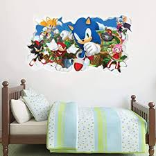 Amazon Com Sonic The Hedgehog Wall Sticker All Characters Smashed Wall Decal Vinyl Mural Kids Bedroom Art 90cm Width X 45cm Height Baby