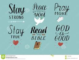 set of hand lettering christian quotes symbols stay strong