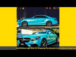 Coral Briliant Light Blue Car Wrapping Film Macaron Color Sticker For Youtube