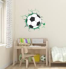 Soccer 3d Broken Wall Decor Ball Coming Through The Wall Etsy