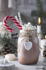 cocoa with marshmallow candy cane and