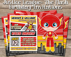 The Flash Birthday Invitation Justice League Dc Comics
