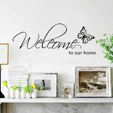 Butterfly Welcome To Our Home Vinyl Wall Art Living Room Quotes Wall Decals Wish