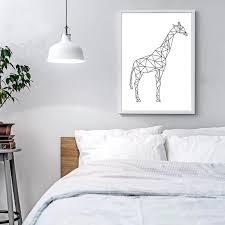 Minimalist Geometric Animal Art Giraffe Poster Canvas Print Wall Art Nordicwallart Com