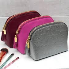 personalised leather makeup bag