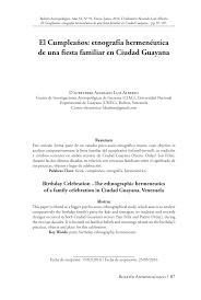 Pdf El Cumpleanos Etnografia Hermeneutica De Una Fiesta Familiar En Ciudad Guayana