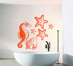 Wall Decals Sea Horse Star Fish Sea Shell Art Mural Bathroom Design Interior Home Vinyl Decal Sticker Kids Nurse Baby Room Decor Animal Wall Decals Wall Decals