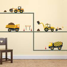 Four Construction Vehicle Wall Decals With Straight Gray Road Eco Fri