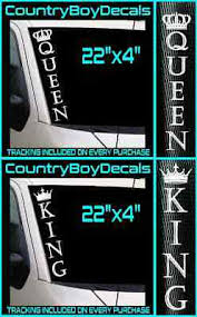 King Queen 22 Vinyl Decal Sticker His And Hers Truck Car Turbo Boost Dies Ebay