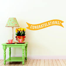 Printique Vinyl Wall Art Decals Congratulations Banner 13 X 45 Best Wishes Celebr