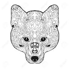 Fox Head Adult Antistress Coloring Page Black White Hand Drawn